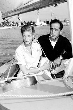 Lauren Bacall and Humphrey Bogart, sailing, 1945.