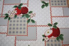 1930's Vintage Wallpaper Red apple Kitchen by HannahsTreasures, $14.00