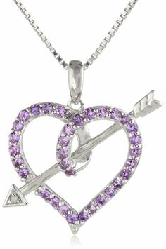 """Sterling Silver Amethyst and Diamond-Accented Love's Arrow Pendant Necklace, 18"""""""
