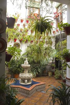 Typical Andalusian patio with fountain and numerous plants (geraniums and carnations) on the walls. Cordoba, Spain, on 10 February 2012 Stock Photo Pergola Plans, Diy Pergola, Pergola Kits, Porches, Roof Ceiling, Outdoor Patio Designs, Small Fountains, Plant Decor, Flower Pots