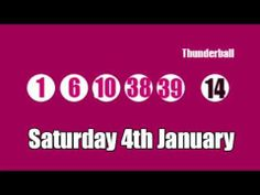 Here are the Thunderball results on #YouTube for Saturday 4th January 2014 www.youtube.com/watch?v=urDNsHHf9bQ