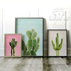 Cactus print Set of 3 PRINTABLE art,modern art,minimalist art,abstract print,mid-century modern,southwestern decor,gallery wall,cacti prints