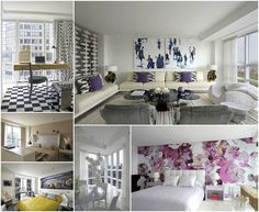 White sofa with pillows (Robert Couturier New-York-Apartment-9-collage)