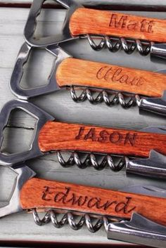 The guys will love this practical gift with their names engraved on their very own bottle opener.