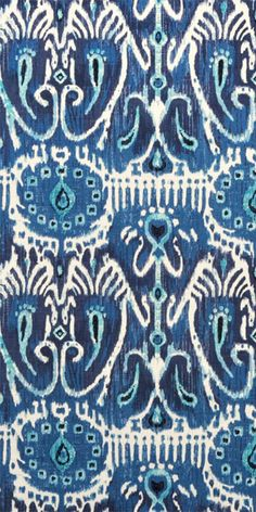 Suburban Home Cerva Navy Fabric #ikat #navy #turquoise #blue