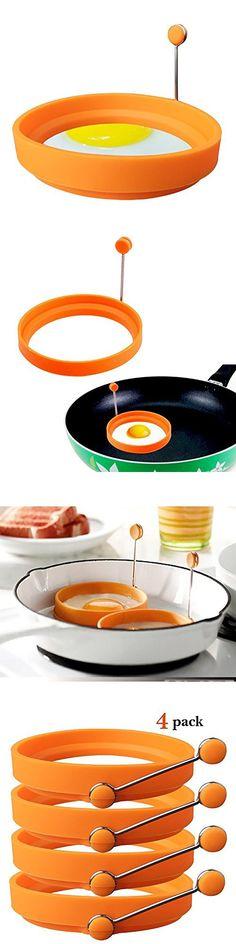 Generic Nonstick Silicone Egg Ring Pancake Mold Round Egg Rings Mold Orange 4 Packs