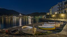 Night at Cadaques   by vision-manu *Cadaqués is a town in the Alt Empordà comarca, in the province of Girona, Catalonia, Spain. It is on a bay in the middle of the Cap de Creus peninsula, near Cap de Creus cape, on the Costa Brava of the Mediterranean