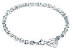 Tiffany & Co. 'Return to Tiffany' heart tag choker. Sterling silver chain link with lobster clasp. Features heart shape tag.