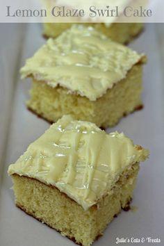 Lemon Glaze Swirl Cake ~ Lemon cake, topped with a lemon glaze and lemon frosting! via www.julieseatsandtreats.com