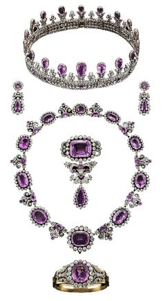Prussia - The House of Hohenzollern Royal Pink Topaz Parure, Early Century. Consisting of a tiara, a pair of pendant earrings, a necklace, a s… Royal Crown Jewels, Royal Jewelry, Pink Jewelry, Jewelry Sets, Jewelery, Amethyst Jewelry, Antique Jewelry, Vintage Jewelry, Royal Tiaras