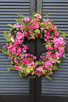 Pink Floral Door Wreath Hot Pink Flower by EverBloomingOriginal