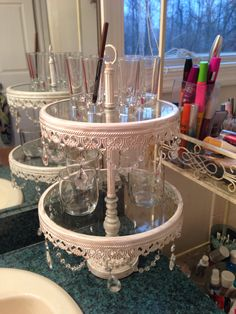 A new idea to beautifully organize your vanity, bathroom counter, dresser top, etc...