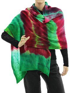 Cozy knit wool shawl wrap cape scarf in green burgundy - Artikeldetailansicht - CLASSYDRESS Lagenlook Art to Wear Women's Clothing