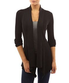 """Product review for Zollzirr Women's Ribbed cardigan Sweater Irregular Hem Open Front Draped Knit Blouse.  Women's Ribbed Long Sleeve Cascading Asymmetric Hem Open Cardigan Sweater Size Chart: S: Bust 33-35"""" Waist 25-27"""" USA 4-6  M: Bust 35-37"""" Waist 27-29"""" USA 8-10 L: Bust 38-40"""" Waist 30-32"""" USA 12-14 XL: Bust 40-42"""" Waist 33-35"""" USA 16 Color: Light..."""