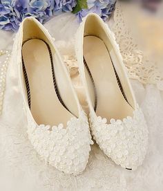 Daisy Raised Vintage Style Wedding Flats Shoes CM_L084 Buy Lace N Bling at the WS