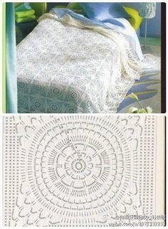 . Crochet Bedspread Pattern, Crochet Quilt, Crochet Tablecloth, Crochet Stitches Patterns, Crochet Chart, Crochet Squares, Thread Crochet, Crochet Motif, Crochet Round