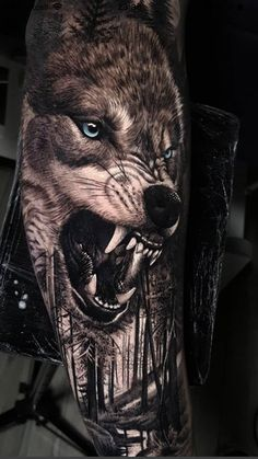 50 Of The Most Beautiful Wolf Tattoo Designs The Internet Has Ever Seen - KickAss Things Wolf Sleeve, Wolf Tattoo Sleeve, Nature Tattoo Sleeve, Best Sleeve Tattoos, Wolf Tattoos Men, Animal Tattoos, Tattoos For Guys, Owl Tattoos, Eagle Tattoos
