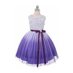 Purple Ombre Dress w/ Rosette Bodice (190 BRL) ❤ liked on Polyvore featuring dresses, purple dresses, purple ombre dress, rose dress, rosebud dresses and rosette dress