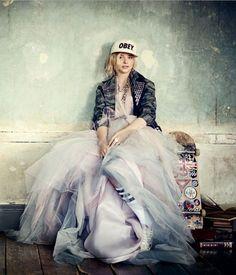 Different styles Obey cap Cool jacket Princess tule dress Kneesocks Skateboard