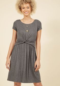 <p>As you debut this navy blue dress at an early meeting, you win over your coworkers with your fantastic points of view! Twirling a knotted waist and soft jersey knit into a totally sophisticated look, this ModCloth-exclusive frock proves that a proper ensemble leaves you no where to go but up.</p>