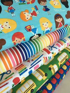 Adorable back to school fabrics by Ann Kelle for Robert Kaufman. Bundle includes one of each fabric in the first picture, 5 total. You can choose the cuts! (see our FREE shipping deal below)  Quantity button will allow you to purchase fat quarters, 1/4 yards, half yards, or yardage. Price and size are listed in the dropdown menu. Multiple quantities will be cut in one continuous piece. 100% cotton. ***You choose the cuts*** Fat quarters are 18 by 22 1/4 yards are 9 by 44 1/3 yards are 12 by…