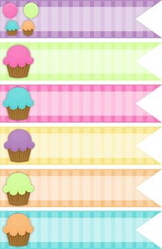 Free Cupcake Digital Ribbons The Happy Birthday Keren Collection - The Cottage Market: