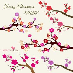 INSTANT DOWNLOAD - CHERRY Blossoms - Dusk.  Clip art for commercial and personal use.. $4.95, via Etsy.