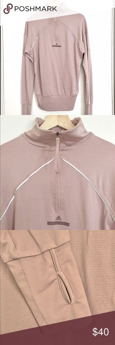 Stella McCartney for ADIDAS Dusty Rose Pullover Super soft, longer fit warm-up pullover with zipper at neck. Wide band at bottom and on sleeves create blousy look. Sleeves have thumb holes. Rare Stella McCartney for Adidas in great condition. Adidas by Stella McCartney Tops Sweatshirts & Hoodies