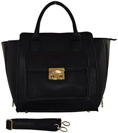 Patzino Fashion Collection, PU Leather Women's Satchel Handbag (Black)