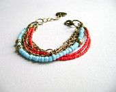 Blushing - colorful boho style stacking turquoise red bracelet Part of a TAGT team Etsy treasury, click to see more.
