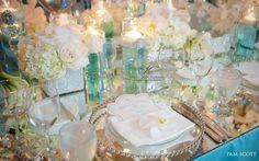 Tiffany blue and mirror wedding decor