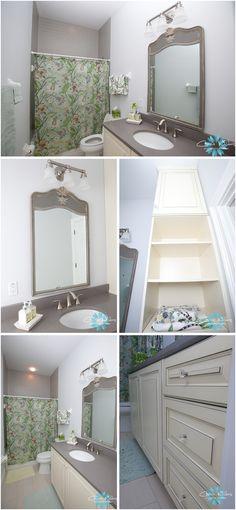 shabbychic gray yellow bathroom.  Love the vanity!