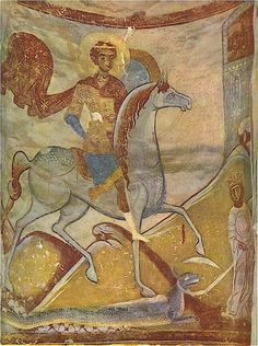 St. George the dragon-slayer, fresco from Old Ladoga, Russia (late 12 century)