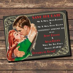 Save The Date  / Wedding  Custom Printable Retro Invitations by SparksArts, $45.00 - with changeable hair color.