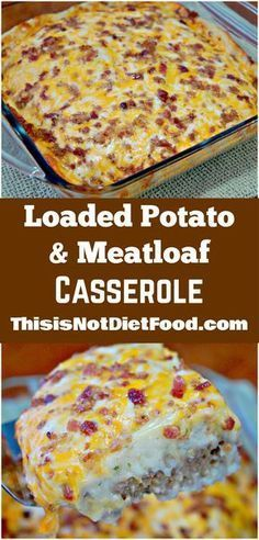 Loaded Potato and Meatloaf Casserole. Easy dinner recipe with ground beef and instant mashed potatoes topped with cheese and bacon.
