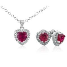 Ruby and Diamond Heart Pendant and Earrings Set in Silver 3ct tgw