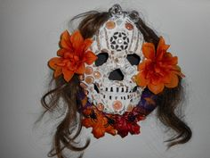 "Day of the Dead sugar skull mosaic Wreath handmade halloween decor 11"" x 11"" by LesalovesMosaicArt on Etsy"