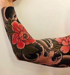 Japanese tattoo sleeve by @andrewseventhson. #japaneseink #japanesetattoo #irezumi #tebori #colortattoo #colorfultattoo #cooltattoo #largetattoo #armtattoo #tattoosleeve #flowertattoo #peonytattoo #blackwork #blackink #blacktattoo #wavetattoo #naturetattoo
