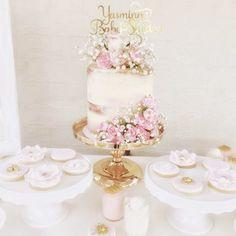 Princess birthday girl baby shower princess cookies seminaked cake pink