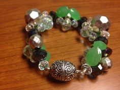 Green, blue, and clear all over bracelet