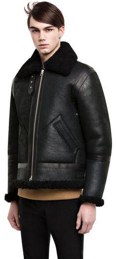 Ian shearling black aviator jacket #AcneStudios #menswear #PreFall2014