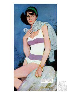 Sweet Enemy - Saturday Evening Post Leading Ladies, October 5, 1957 pg.30 Giclee Print by Lynn Buckham at Art.com