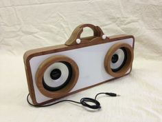 A selection of amplifier docking stations designed by students at the Cottenham Village College.