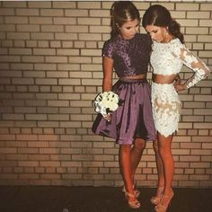 2017 Purple Homecoming Dress,Two Pieces Beaded Short Homecoming Dress,Short Sleeves Mini Dress sold by SeventeenProm. Shop more products from SeventeenProm on Storenvy, the home of independent small businesses all over the world. Hoco Dresses, Dance Dresses, Pretty Dresses, Beautiful Dresses, Long Sleeve Homecoming Dresses, Event Dresses, Two Piece Homecoming Dress, 1950s Dresses, Prom Gowns