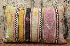 Decorative Lumbar Kilim pillow cover 16x24 inches Rustic kilim pillow Home Decor Turkish Cushion covers Oblong Pillow Bolster pillow F-148 by stripepattern on Etsy
