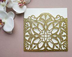 Laser cut Glitter paper invitation set by PRINTDECOstudio on Etsy