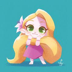 Anime Disney Princess, Disney Rapunzel, Baby Disney Characters, Disney Princess Cartoons, Disney Babys, Disney Princess Drawings, Kawaii Disney, Chibi Disney, Cute Disney Drawings