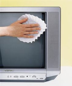 If you don't have a microfiber cloth, don't sweat it. You can dust on your flat screen TV or computer monitor (safely!) with coffee filter, lint-free.