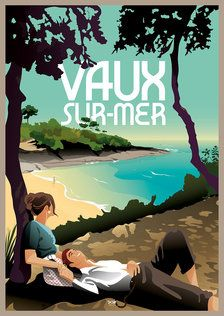 Affiche Vaux sur-Mer Vintage Travel Posters, Retro Posters, Commercial Art, Vintage Images, Wonders Of The World, Illustrations Posters, Art Paintings, Painting Art, Around The Worlds