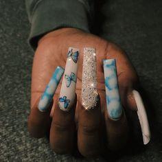 Long Square Acrylic Nails, Blue Acrylic Nails, Acrylic Nails Coffin Short, Ongles Bling Bling, Bling Nails, Swag Nails, Grunge Nails, 3d Nails, Drip Nails
